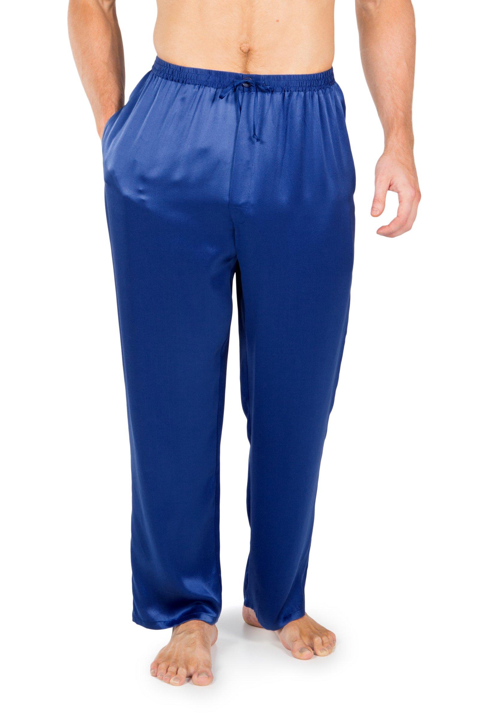 TexereSilk Men's Luxury Silk Pajama Pants (Hiruko, Royal Blue, Large) Unique Gifts For Men's Birthday MS0201-RYB-L