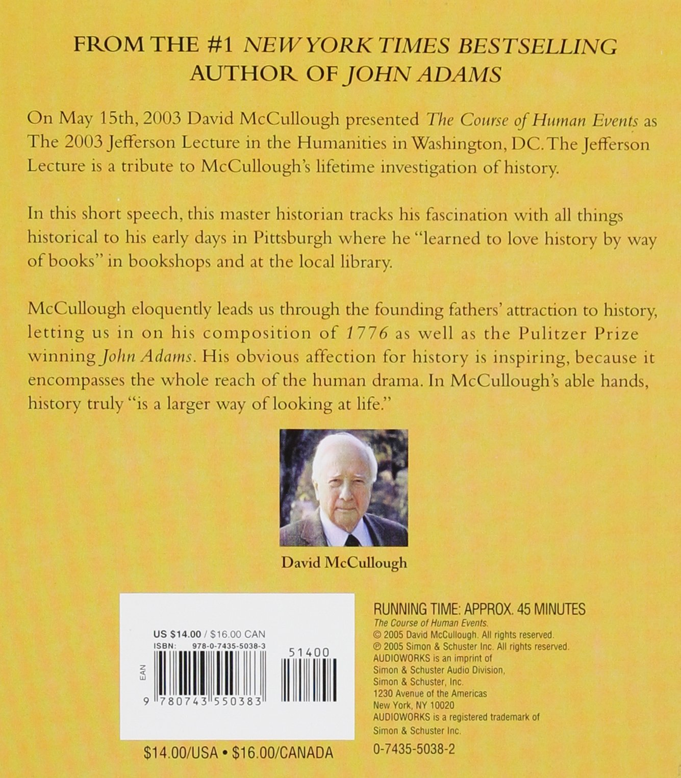 The Course Of Human Events (jefferson Lecture In The Humanities): David  Mccullough: 9780743550383: Amazon: Books