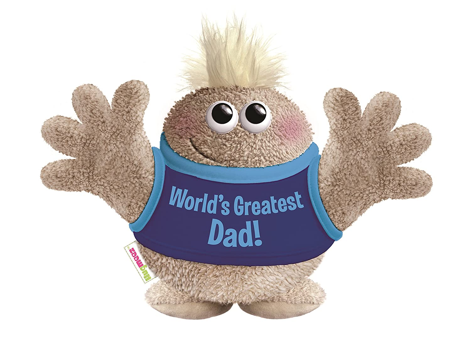 Beige Hugmeez Childrens Worlds Greatest Dad Plush Toy 8 Tall 8 Tall Millennium Products Group us toys HM-314