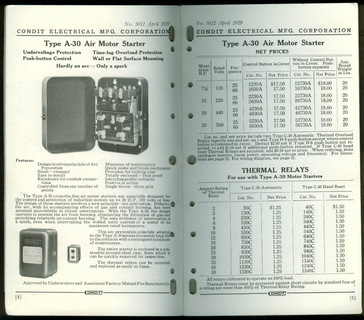 Condit Motor Starters Circuit Breakers Safety Industrial Handbook 4 Thermal Overload Relay Wiring Diagram 1929 At Amazons Entertainment Collectibles Store