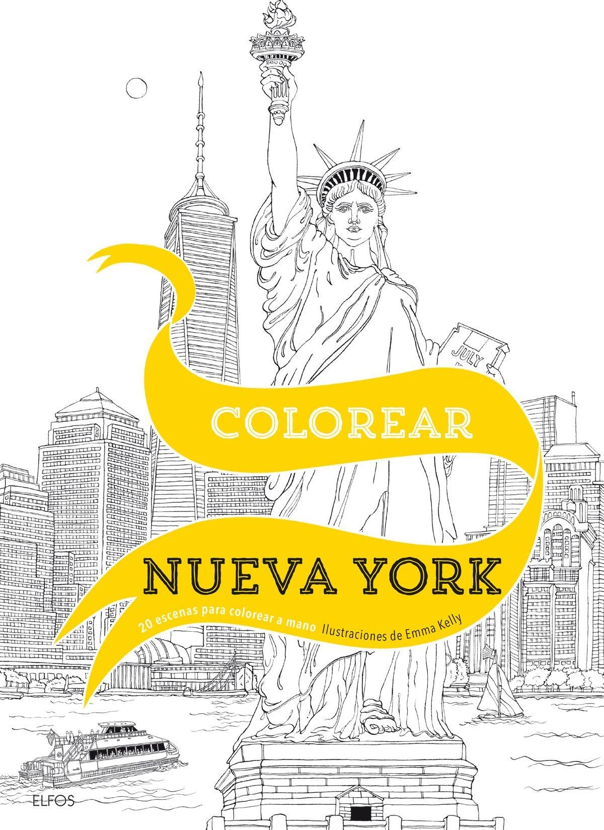Colorear Nueva York: 20 escenas para colorear a mano: Amazon.es ...