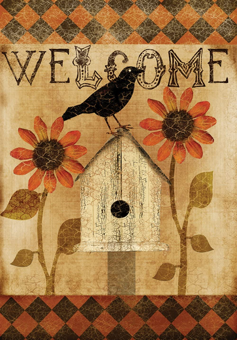 Toland Home Garden Harlequin Crow 12.5 x 18 Inch Decorative Rustic Welcome Fall Autumn Bird Garden Flag