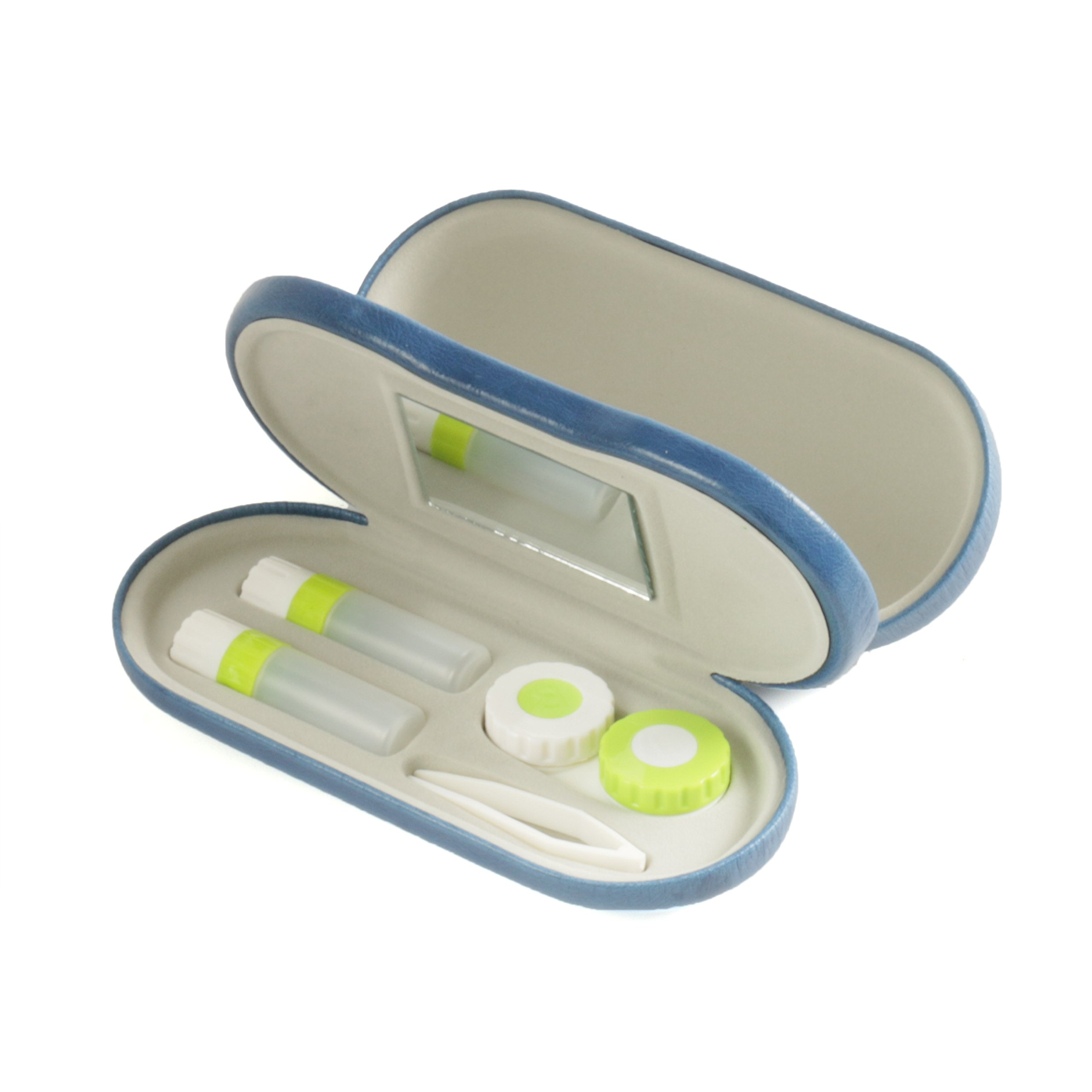 Bissport Glasses Contacts Lens Double Use Case Assorted Travel Kit - Blue