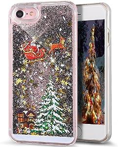 iPhone 8 Plus Case,iPhone 7 Plus Case,LEECOCO Celebrate Christmas 3D Quicksand Bling Shinny Flowing Liquid Transparent Hard Protective Case for iPhone 8 Plus / 7 Plus 5.5 inch [Carriage] Black