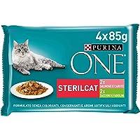 Purina One filettini (Salsa para El Gato sterilizzato, con salmón y Zanahoria, con Pavo y judías, 4 x 85 g – Paquete de…