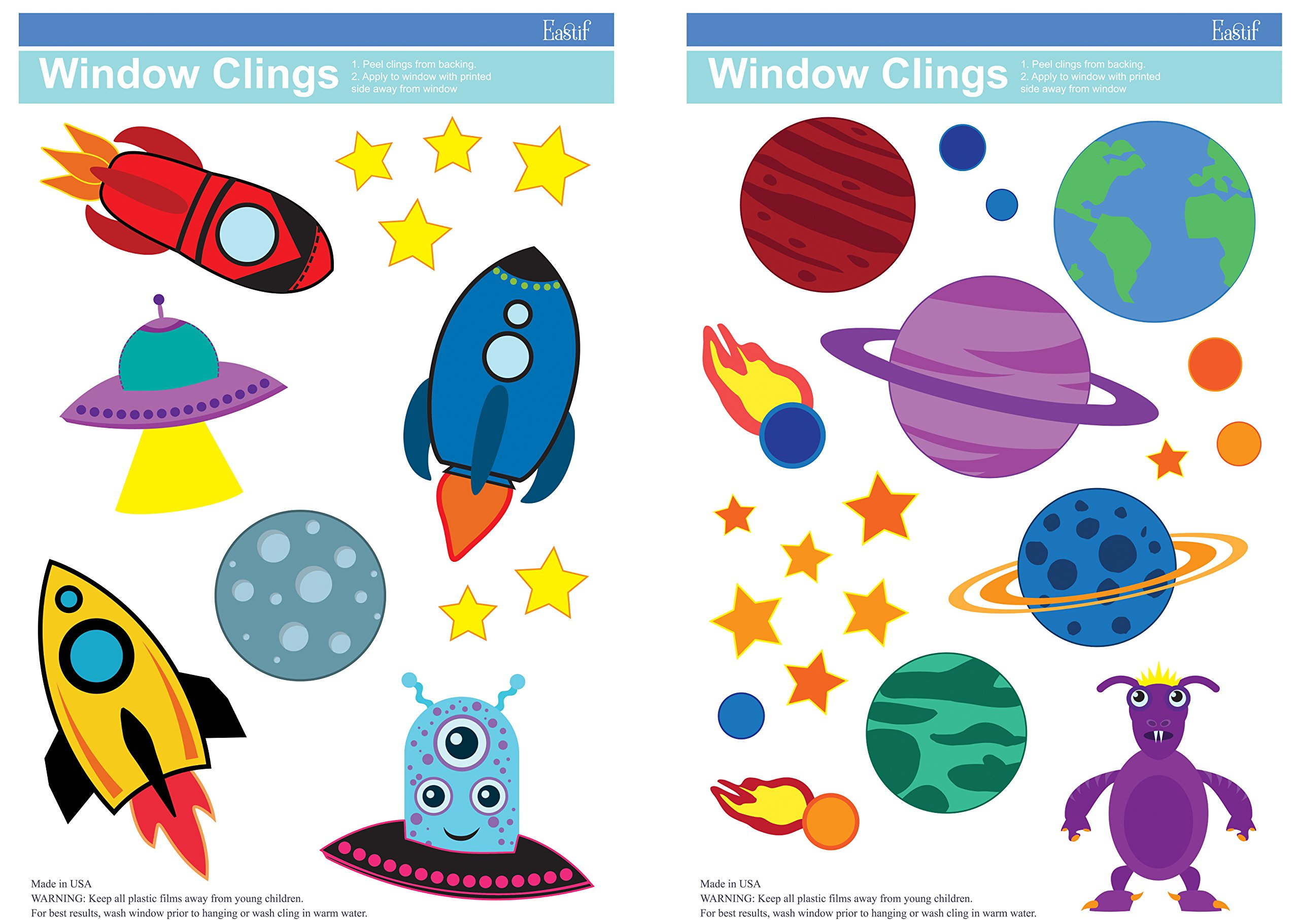 Space Window Clings, Rocket Ships, Planets, Stars, UFOs & More! 2 Sheets