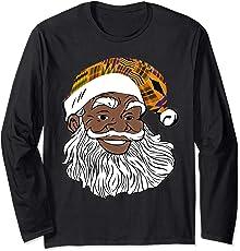 Black Jolly Santa Shirt African American Santa Kente Hat