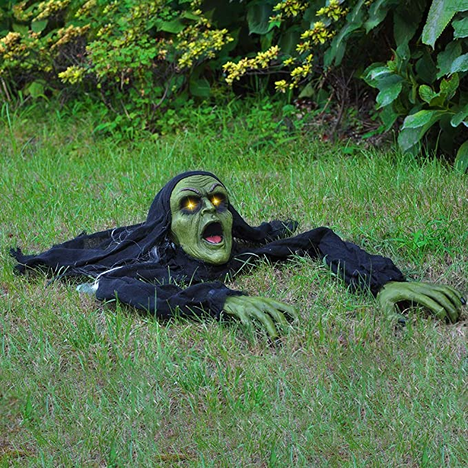 Climbing Zombie Ground Breaker with Sound and Flashing Eyes Animated Halloween Outdoor Yard Decorations