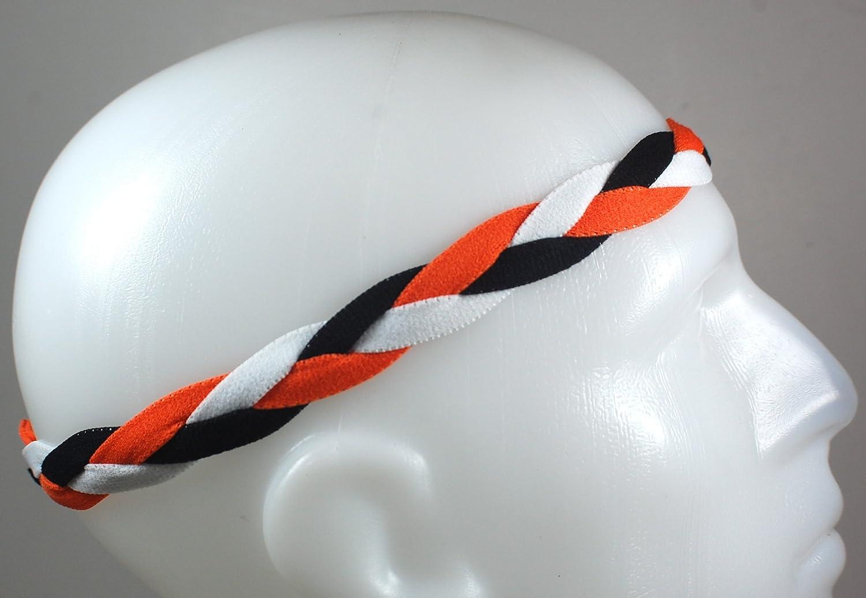 新しい。オレンジブラックホワイト – 非スリップBraidedスポーツミニヘッドバンド   B00MBR9R72