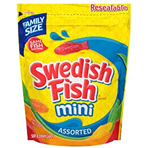 SWEDISH FISH Mini Assorted Soft & Chewy Candy, Family Size, 1.9 lb