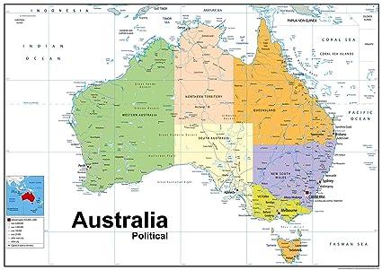 Cartina Australia Politica.Australia Mappa Politica Vinyl A1 Misura 59 4 X 118 9 Cm