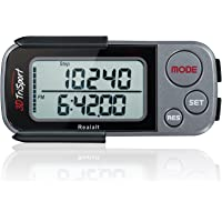 Realalt 3DTriSport 3D Pedometer, Accurate Step Counter with Clip and Strap