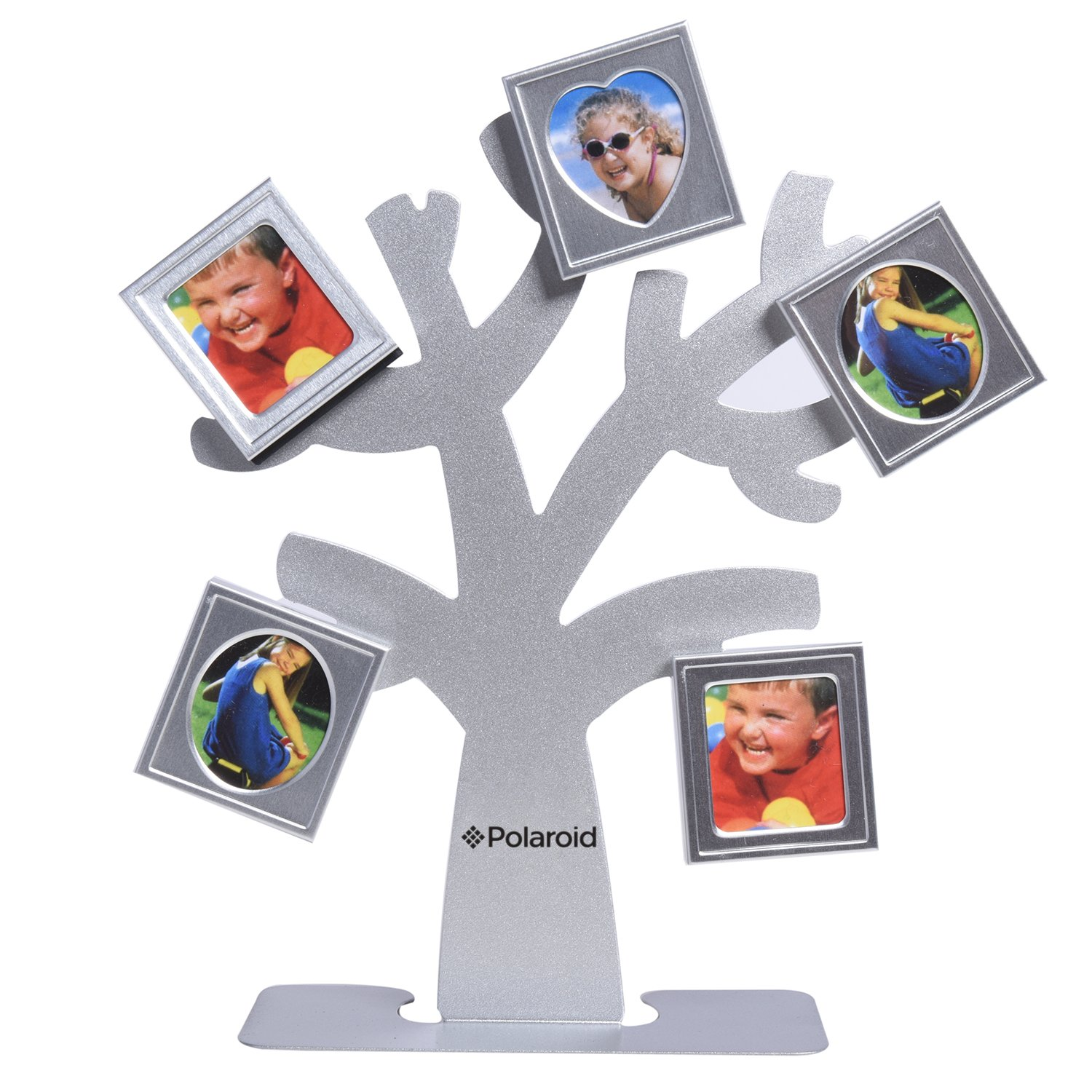 Polaroid Family Tree Frame - Tree with Stand & Five Magnetic Mini-Picture Frames (Silver) For Zink 2x3 Photo Paper Pojects (Snap, Zip, Z2300) PL-2X3FTS