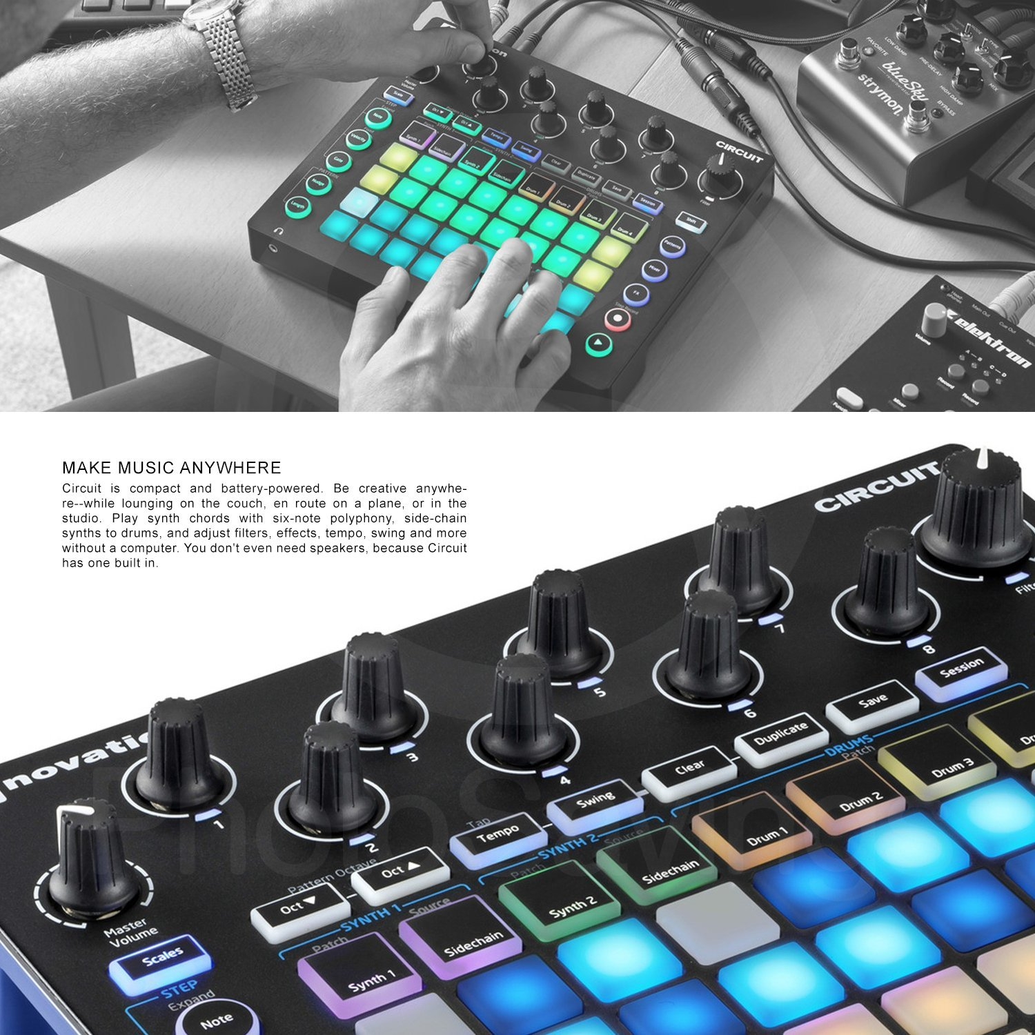 Novation Circuit Groove Box and Sample Import Bundle with 2 MIDI to 2 MIDI (Dual) Cable + Samson Stereo Headphones + Fibertique Cleaning Cloth by Photo Savings (Image #2)