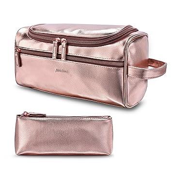 5d64118ef432 Amzbag Leather Toiletry Bag Travel Toiletry Organizer Portable Hanging  Makeup Bag Dopp Kit   Shaving Cosmetic