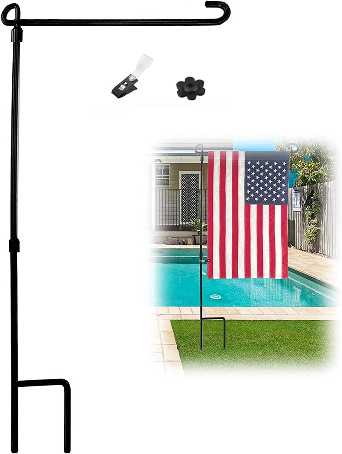 "Garden Flag Stand Pole Holder with Garden Flag Stopper and Anti-Wind Clip 34"" H x 15"" W for Metal Wrought Iron Powder Coated Painting Steel"