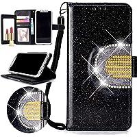 Nadoli Spiegel Glitzer Hülle für Huawei P Smart,Bling PU Ledertasche Trageschlaufe Wallet Case Brieftasche Hülle Handyhülle Flip Case Cover für Huawei P Smart,Schwarz
