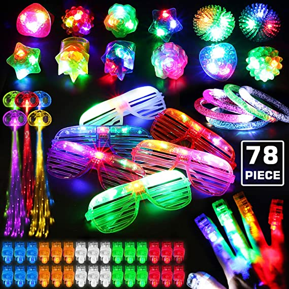11PCs LED Light Up Toy Party Favors Glow In The Dark,Party Supplies Bulk  For Adult Kids Birthday Halloween With 11 Finger Light, 11 Jelly Ring, 11