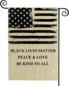 Valever Black Lives Matter Garden Flag Double Sided Fall Garden Flag for Outside 12 x 18 Inches