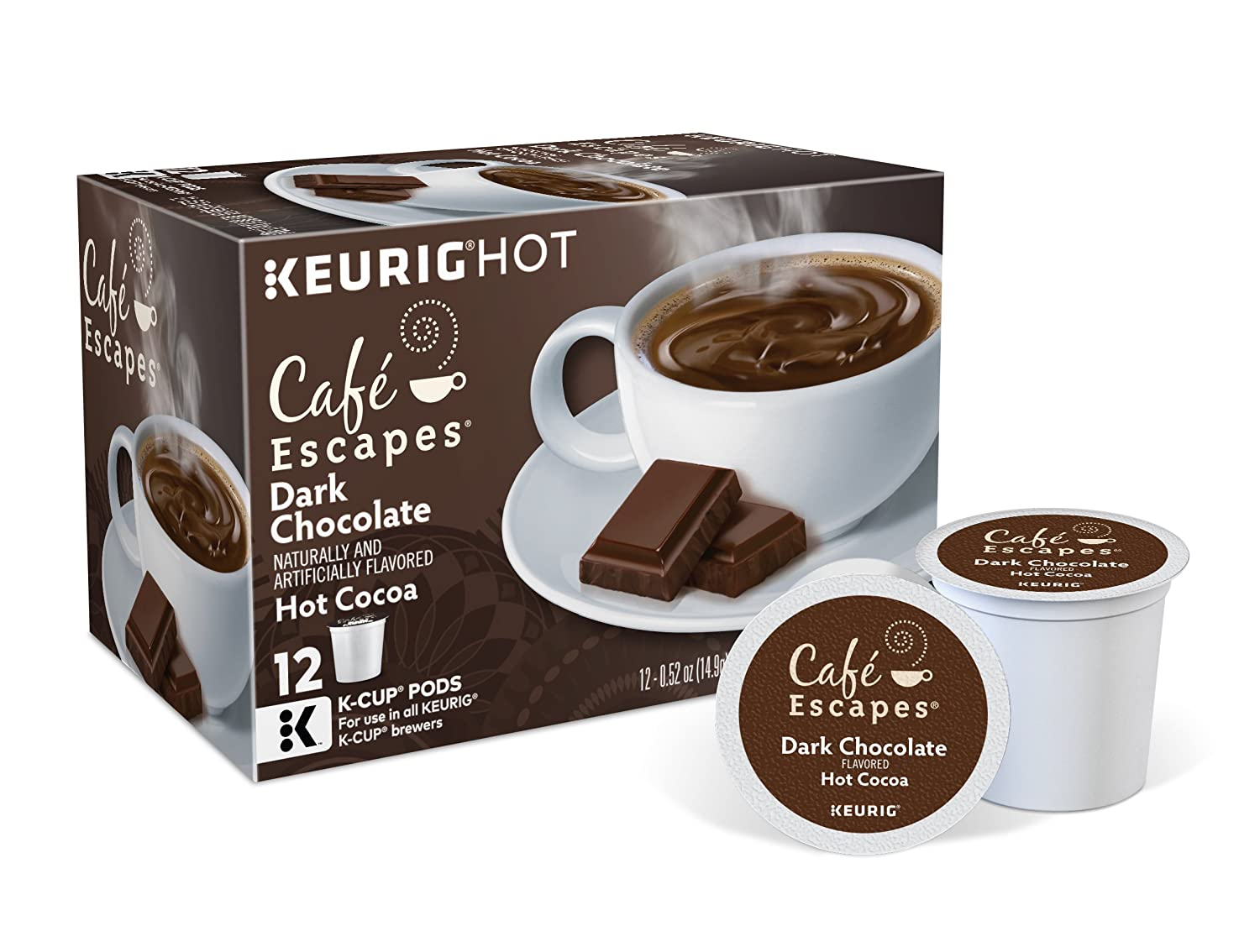 Cafe Escapes Dark Chocolate Hot Cocoa, Keurig K-Cups, 72 Count ...
