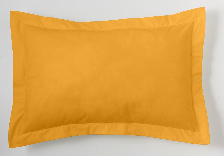 ESTELA - Funda de cojín Combi Lisos Color Maíz - Medidas 50x75+5 cm. - 50% Algodón-50% Poliéster - 144 Hilos - Acabado en pestaña