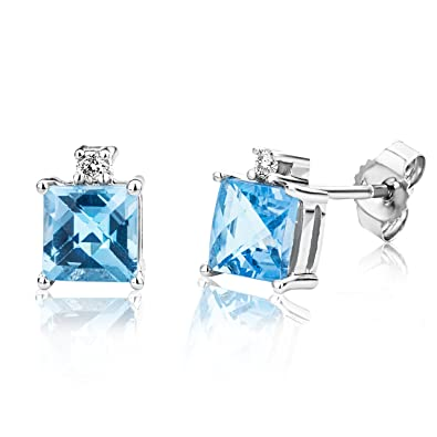 Miore Earrings Women studs Blue Topaz with Brilliant Cut Diamonds White Gold 9 Kt/375 AoTjDGY