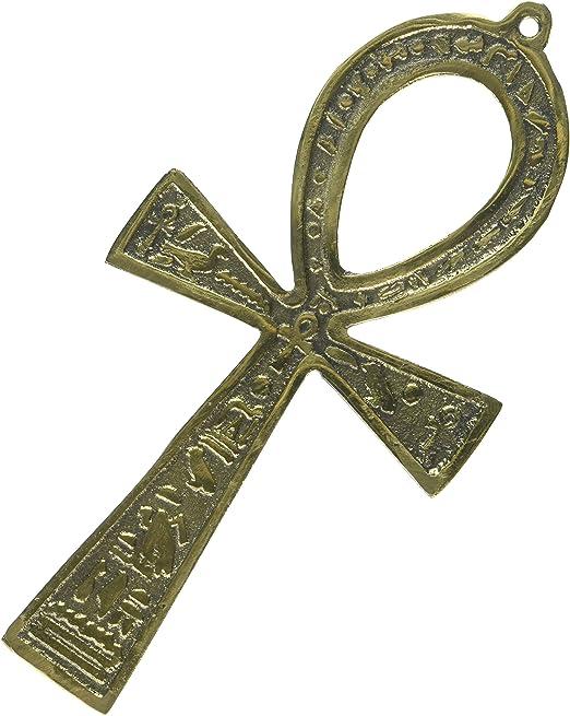 "Egyptian Handmade Pharaoh Ankh Brass 3.5/"" Engraved Hieroglyph Pendant Ancient"