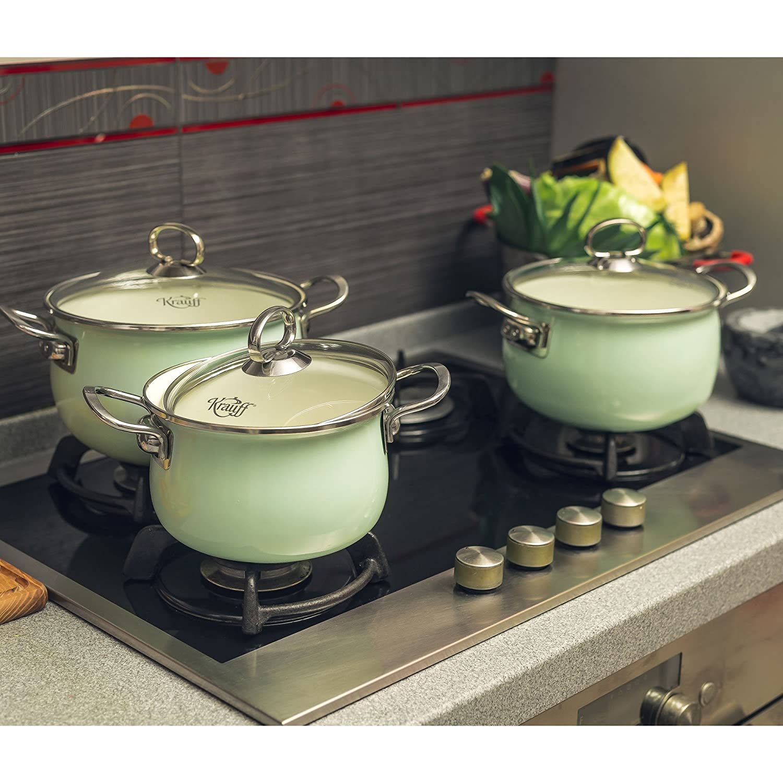 Krauff - Batería de Cocina (6 Piezas), Acero Inoxidable, Coloreado, 16 cm: Amazon.es: Hogar