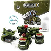 FunBlast Battlefiled Vehicles Play Set- Push and Go Friction Powered Crawling Toy | Fighter Jet Toy, Missile Launcher Toy, Truck Toy for Kids.