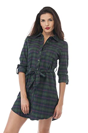 5cad78652570 Hollywood Star Fashion Women's Plaid Flannel Long Shirt Sleeve Dress with  Belt (Small, Navy/Green) at Amazon Women's Clothing store: