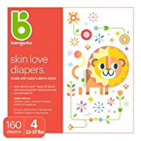 Baby Diapers, Size 4 (22-37 lbs) 160 Count- Babyganics Ultra Absorbent, Unscented, Made without Chlorine, Latex