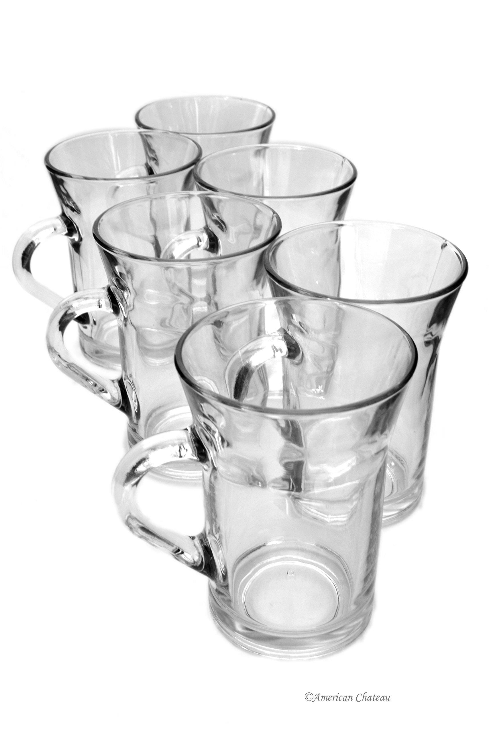 Set 6 Flared 10oz Glass Turkish Tea Irish Coffee Glasses Mugs With Handles
