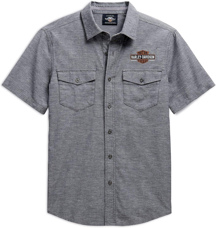 HARLEY-DAVIDSON camisa Oxford con logo para hombre, color gris - Gris - X-Large: Amazon.es: Ropa y accesorios