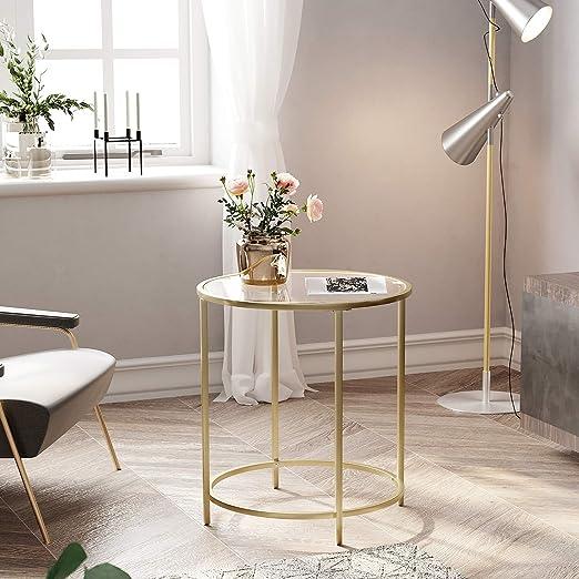 VASAGLE Beistelltisch rund, Glastisch mit goldenem Metallgestell, Kleiner Couchtisch, Nachttisch, Sofatisch, Balkon, Robustes Hartglas, stabil,