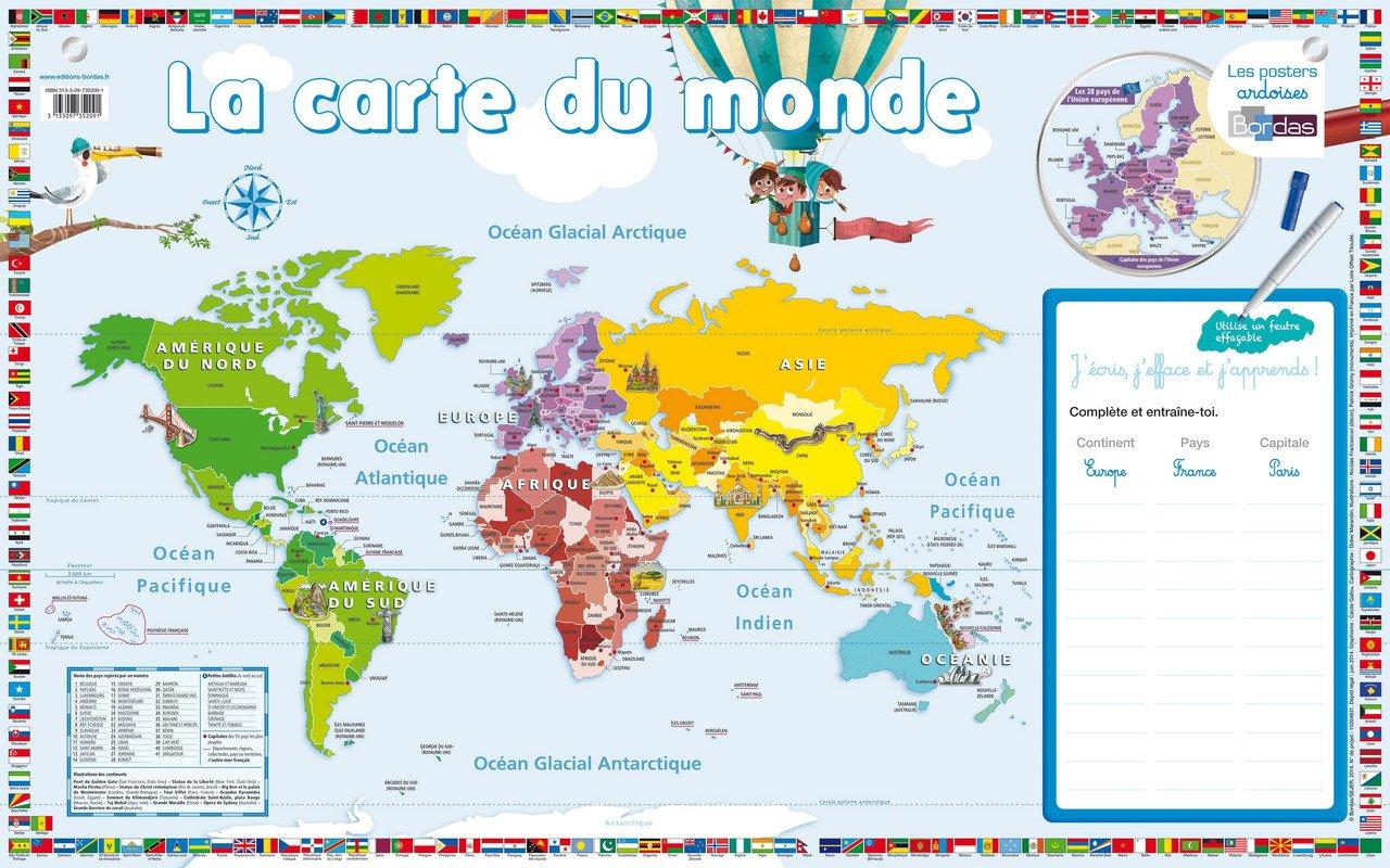 une carte du monde Poster Ardoise la Carte du Monde a l'Unité: Francescon Nicolas