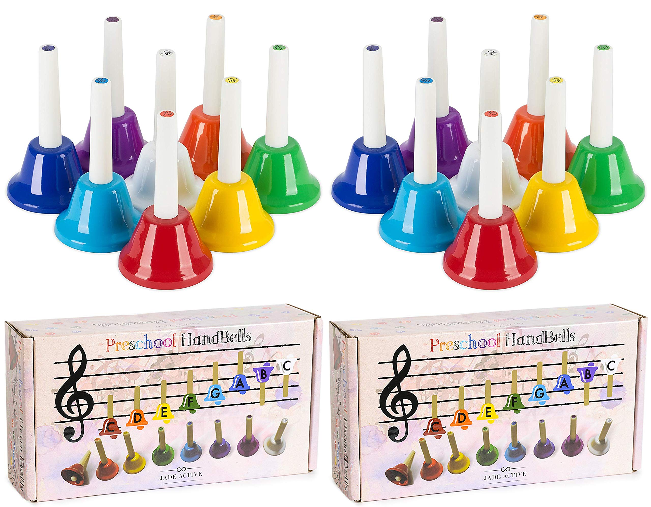 Jade Active 2 Pcs Handbell Set - Musical Bells for Children - Musical Learning at an Early Age