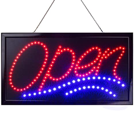Large LED Neon Open Sign for Business: Jumbo Lighted Sign Open with Static  and Flashing Modes – Electric Light up Signs for Stores, Bars, Barber