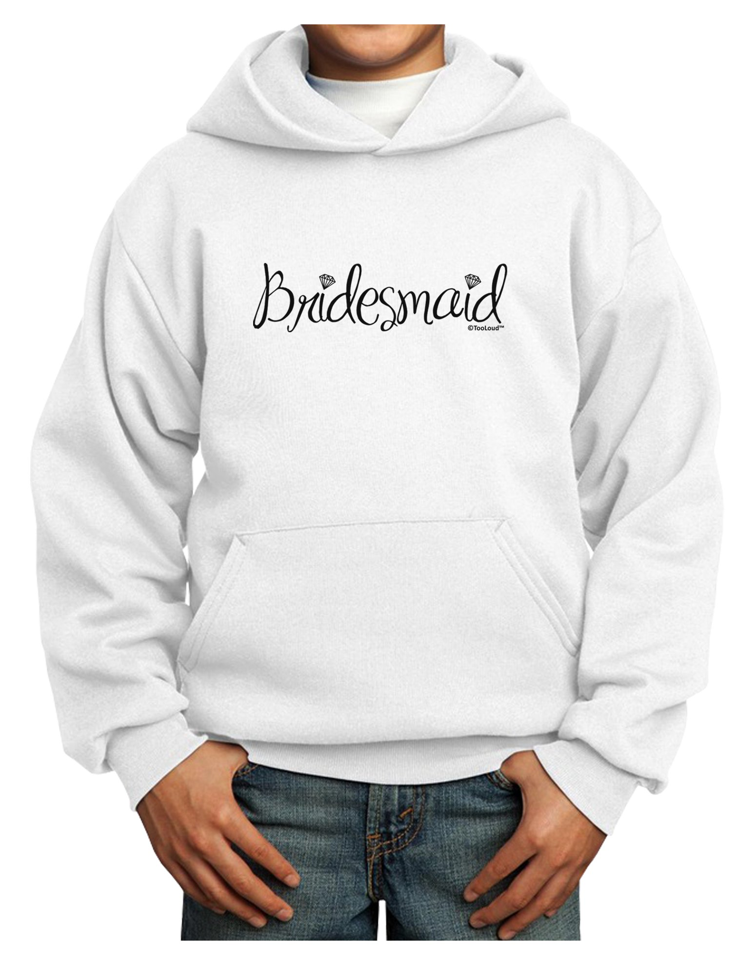TooLoud Bridesmaid Design - Diamonds Youth Hoodie White Large