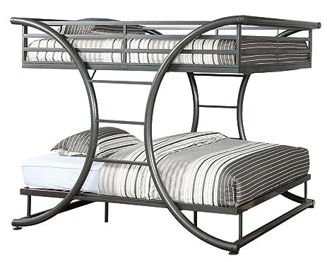 furniture of america central xshape metal bunk bed full over full gun