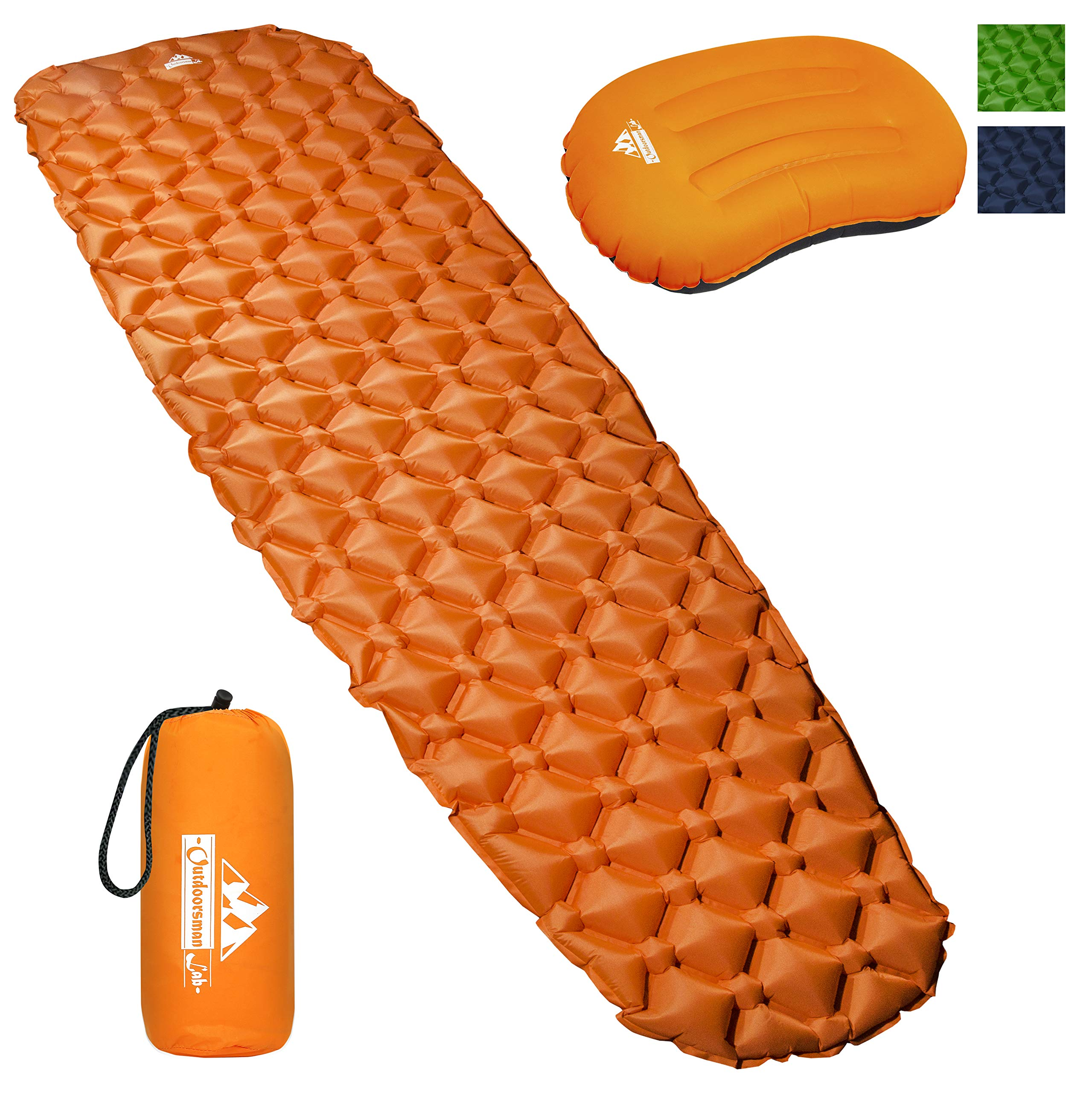 Outdoorsman Lab Camping Sleeping Pad | Ultralight Inflatable Camping Mat Pad for Backpacking & Hiking | Durable Insulated Sleeping Mat, Compact Carrying Bag and Repair Kit (Orange Bundle with Pillow) by Outdoorsman Lab