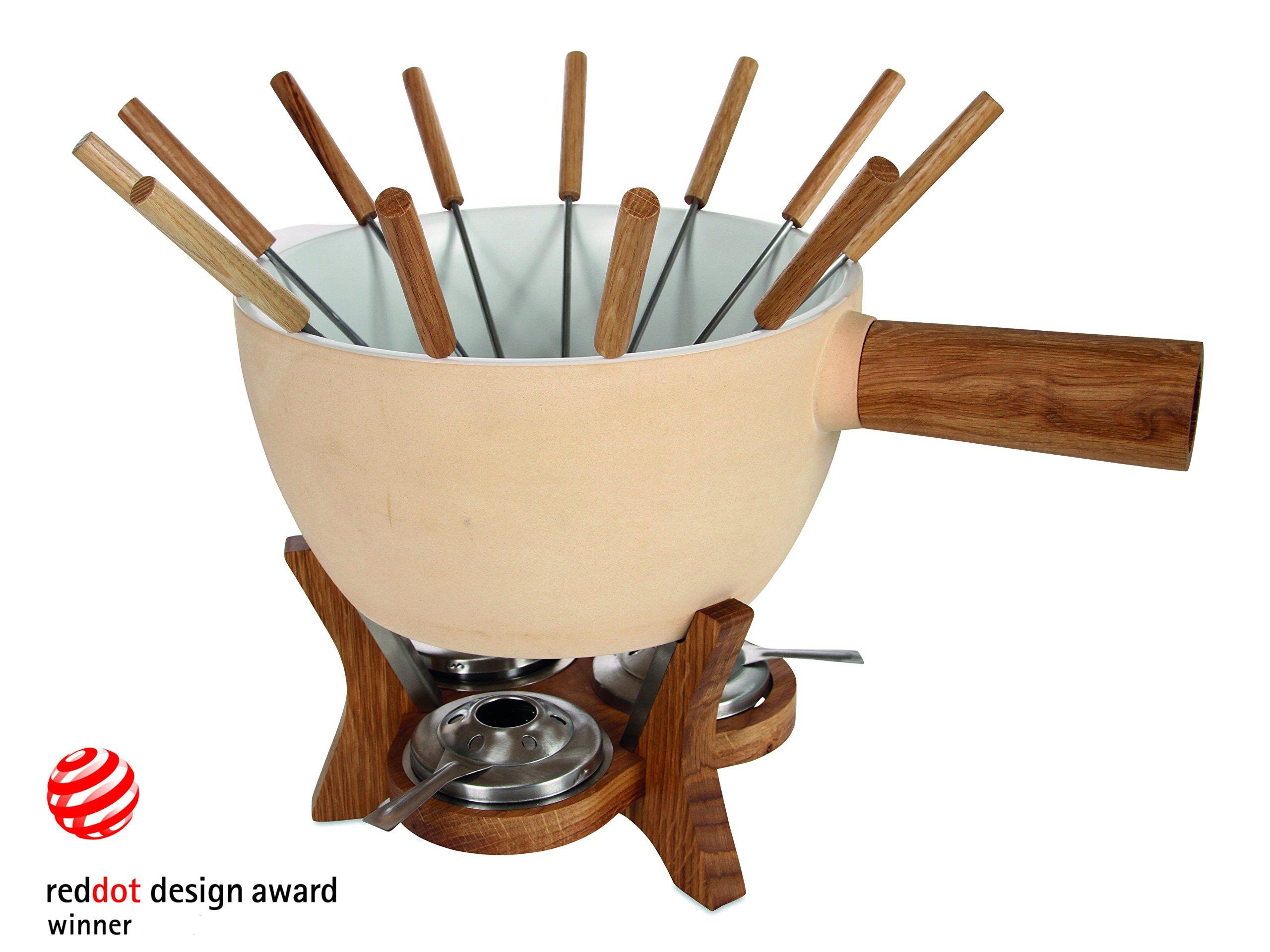 BOSKA Party Fondue Set, 6.5 Liter Stoneware Pot w. Oak Wood Base, 3 Burners, 12 Fondue Forks, Mr Big, Life Collection by Boska Holland (Image #3)