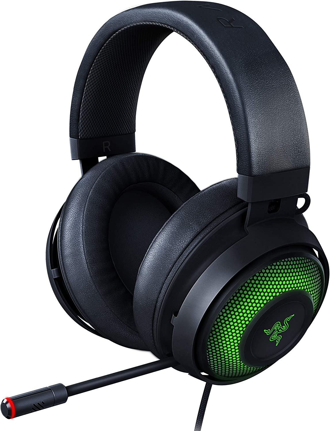 Razer Kraken Ultimate RGB USB Gaming Headset: THX 7.1 Spatial Surround Sound - Chroma RGB Lighting - Retractable Active Noise Cancelling Mic - Aluminum & Steel Frame - for PC - Matte Black