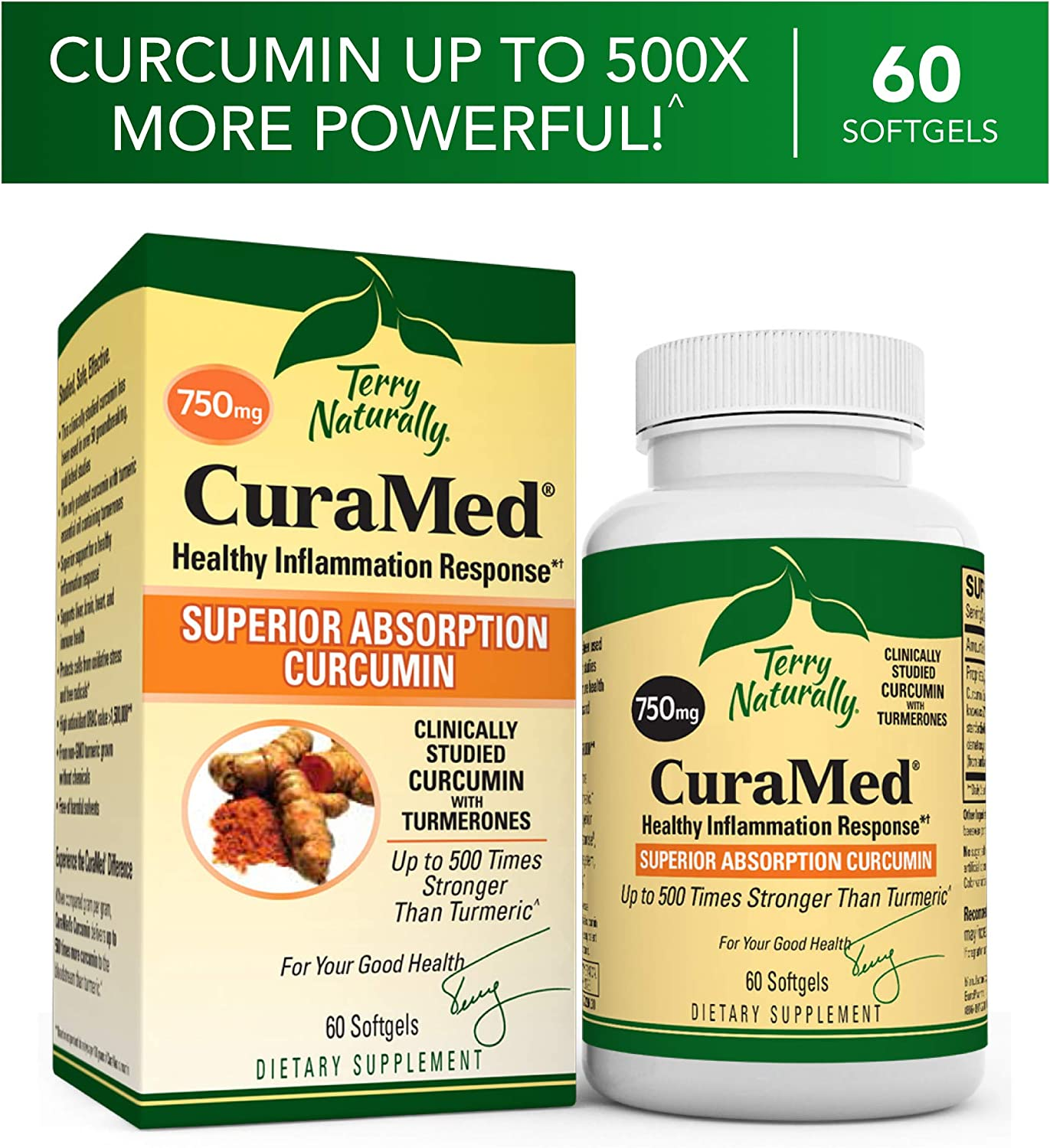 Terry Naturally CuraMed 750 mg – 60 Softgels – Superior Absorption BCM-95 Curcumin Supplement, Promotes Healthy Inflammation Response – Non-GMO, Gluten-Free, Halal – 60 Servings