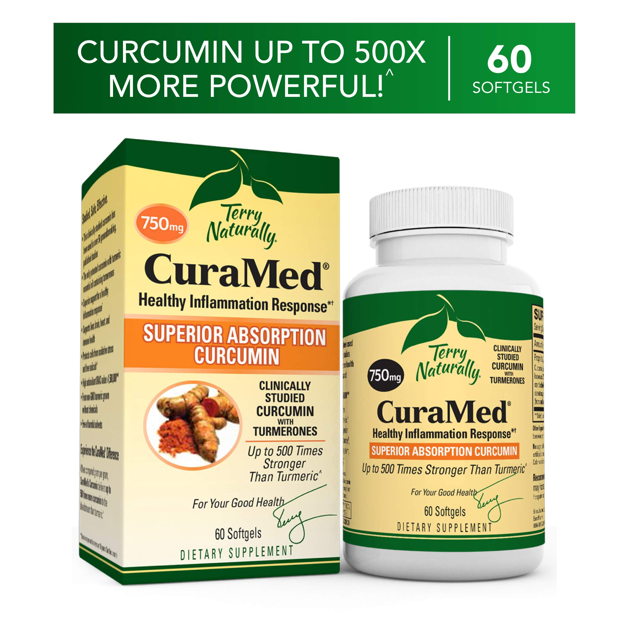 Terry Naturally CuraMed 750 mg - 60 Softgels - Superior Absorption BCM-95 Curcumin Supplement, Promotes Healthy Inflammation Response - Non-GMO, Gluten-Free, Halal - 60 Servings by Terry Naturally