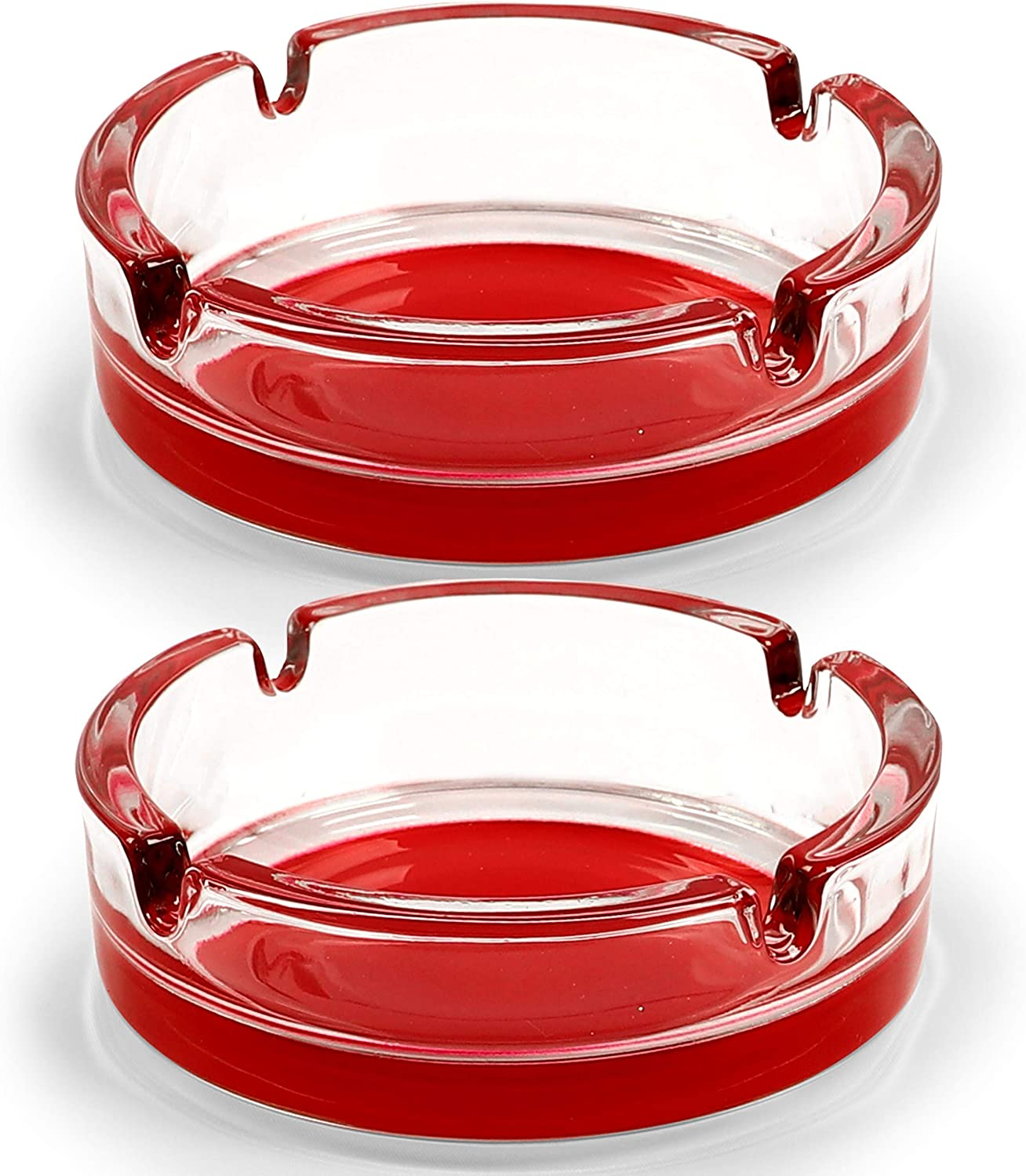 Fargus Glass Ashtrays for Cigarettes, Portable Decorative Modern Ashtray for Home Office Indoor Outdoor Patio Use, Fancy Cute Cool Ash Tray, Pack of 2 (Red-based)