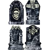 Halloween Tombstone 20 Inch - 4 Piece Set For Creepy Yard Halloween Decorations & Party Supplies