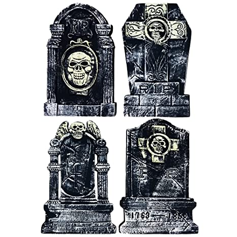 halloween tombstone 20 inch 4 piece set for creepy yard halloween decorations party supplies