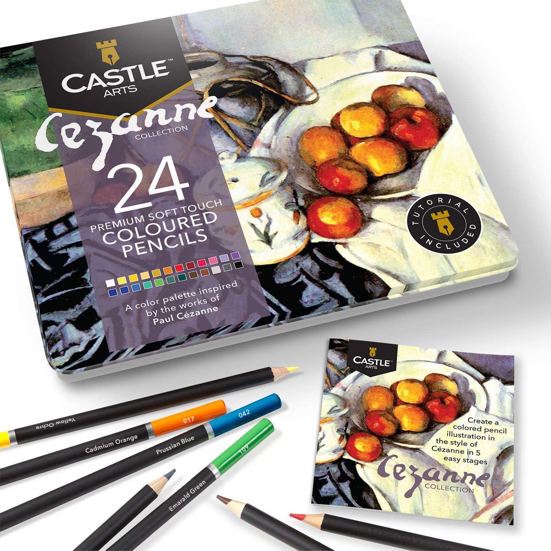 Castle Arts 24 lápices de colores en un estuche de metal, inspirado en Cezanne. Perfecto para dibujar, hacer bocetos, colorear. Con núcleos blandos, mezcla superior y juego de capas: Amazon.es: Oficina y
