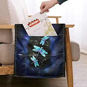 ZFRXIGN Neon Dragonfly Sofa Beside Hanging Storage Bags for Armrest Chair Recliner TV Remote Control Holder Floral Bedside Caddy Washable Organizer Bag Anti-Slip Blue Purple