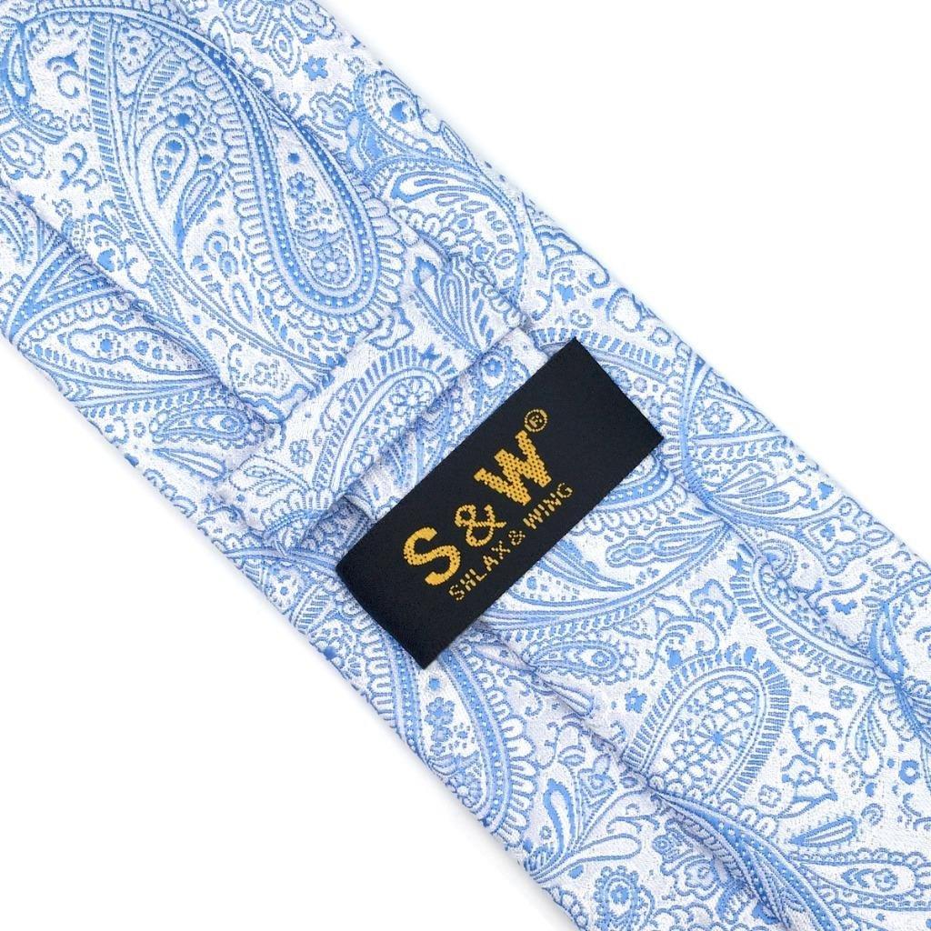 SHLAX WING Nuevo Corbatas Para Hombre Cachemir Tie Plateado Azul for Traje  de negocios Suit 57.5